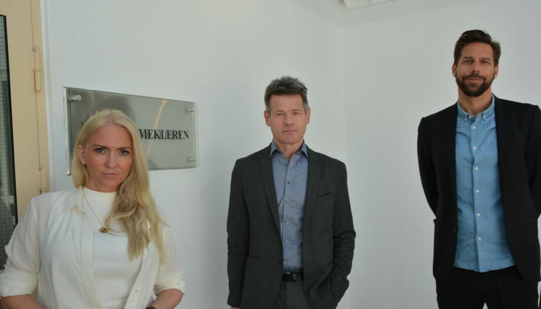 Unio Spekters leder Lill Sverresdatter Larsen, forbundsleder Bent Ronny Mikalsen og forhandlingssjef Ole André Gjerde.